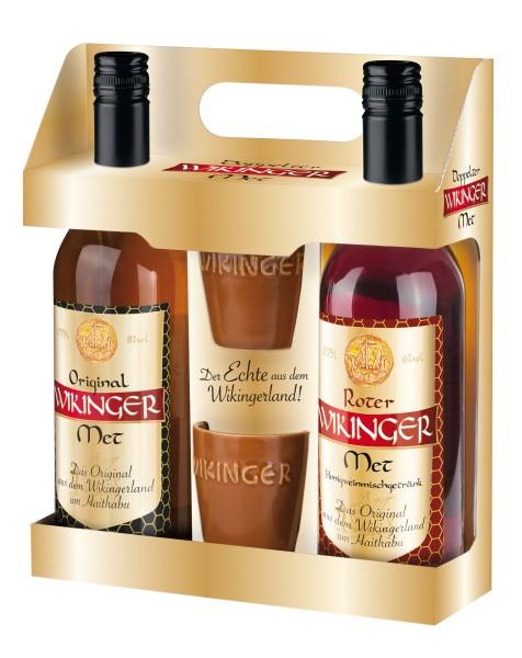 Doppelter Wikinger 2x0,75l + 2 Trinkbecher 0,1l