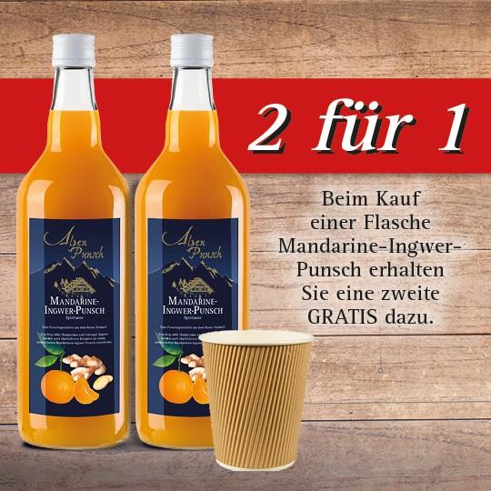 2xMandarine-Ingwer Punsch 1,0l Konzentrat + 25 Papp-Trinkbecher