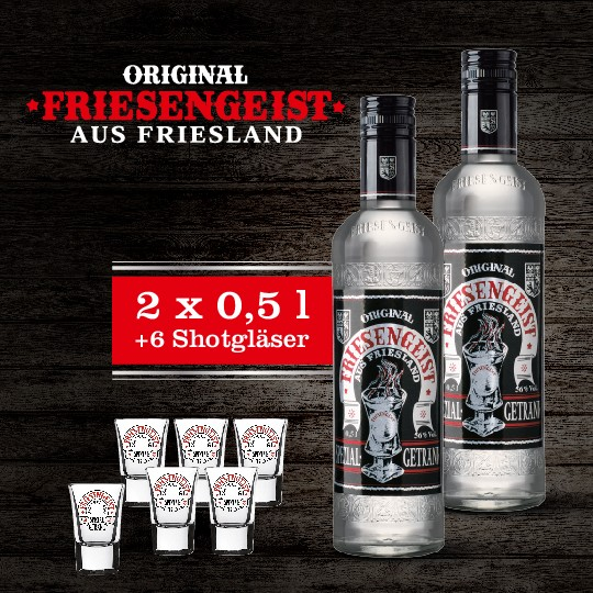 2x FRIESENGEIST 0,5l + 6 Shot-Gläser (gratis)