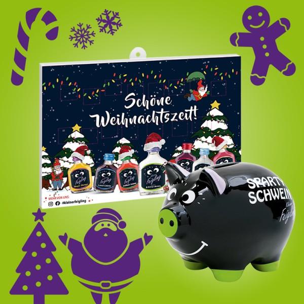 Kleiner Feigling Adventskalender mit Schokolade + Sparty-Schwein